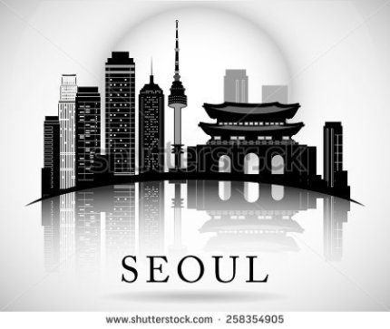 stock-vector-modern-seoul-city-skyline-design-258354905
